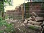 beschädigte Mauer am Tiefgarten Eschenheimer Anlage