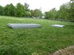 Grüneburgpark - Zäune um Wiese abgebaut